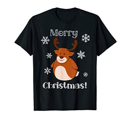 Santa Rentier niedliches Tier Frohe Weihnachten T-Shirt
