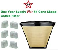 #4 Cone Shape Permanent Coffee Filter & a set of 6 Charcoal Water Filters for Krups Coffeemakers