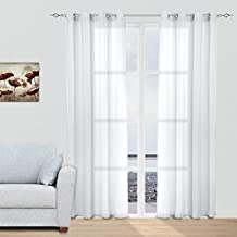 Juego Cortinas Translúcidas Visillos para Ventanas Habitaciones Dormitorios Salones Decoración Moderna para Hogar, 140x260cm con Ojetes, Blanco Puro
