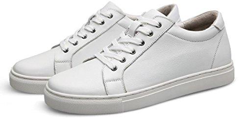 Männer Jugend Rund Lace-Up Bankett Wasserdicht Warm Arbeit Weiches Leder Sicherheit Schuhe,White-25.5(cm)=10.03(in)=EU40=UK6.5