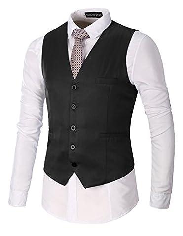 Boom Fashion Slim fit Gilet Veston Veste Costume Sans Manches Homme Branché(chemise Non inclus)
