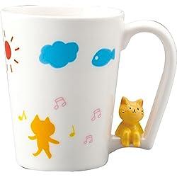 Taza de Sun Arte Cyokonto Copa Gato que se sienta en la taza de mango café, de té SAN2661-2