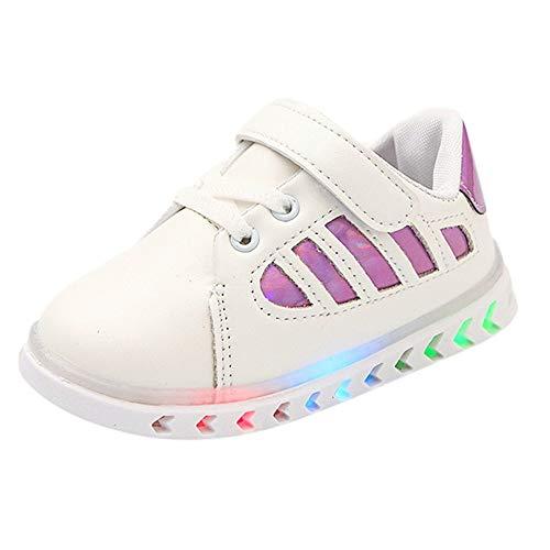Enfants LED Lumière Lumineuse Sport Sneaker Basket Chaussures, QinMM Kid Bébé Filles Garçons en Cuir Étudiant Paillettes Brillant Mode Flèche Coloré Belle Chaude Lacet