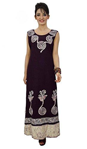 Ärmelloses Kleid in voller Länge lange Frauen tragen Tunika Ausschnitt Gestickte Dunkelviolett