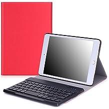 MoKo iPad Mini 4 Funda - Wireless Bluetooth Keyboard Case con PU Cuero Teclado Inalánbrico QWERTY Layout Para Apple iPad Mini 4 7.9 Pulgadas 2015 Tableta, ROJO