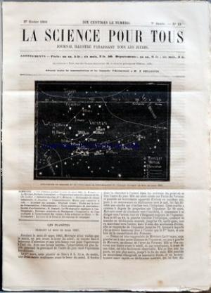 SCIENCE POUR TOUS (LA) [No 13] du 27/02/1862 - LES PLANETES PENDANT LE MOIS DE MARS 1862 PAR G. BRESSON LE MEXIQUE PAR RICHARD CORTAMBERT PLAQUES TOURNANTES DES CHEMINS DE FER PAR CH. LOILIER INDUSTRIE DES VINS PAR DR L. MASSARA DICTIONNAIRE DE CHIMIE INDUSTRIELLE PAR G. JOUANNE CORRESPONDANCE - MOYEN POUR CONSERVER LE VIDE ACADEMIE DES SCIENCES - ELEPHANT VIVANT - ETUDES SUR LA LARVE DU POTAMOPHILUS - L'HELIOCHROMIE FAITS SCIENTIFIQUES ET INDUSTRIELS - SOCIETE D'ACCLIMATATION par Collectif