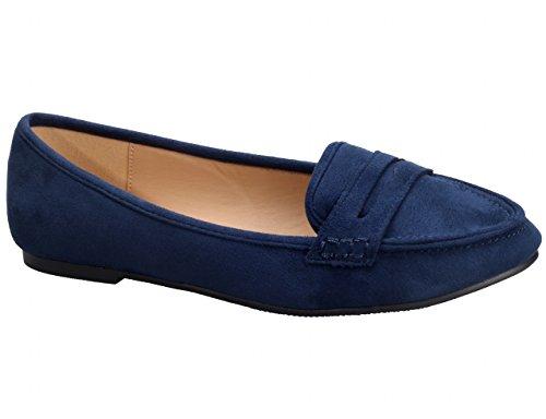 Greatonu Chaussures Femme Mocassins Suédé Plat EU 36-41 Bleu