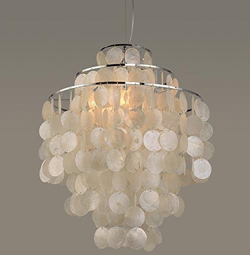 Linear-glas-anhänger (G&L Wohnzimmer Kronleuchter Modern Muscheln Windglocke Hängeleuchten Schlafzimmer Restaurant Weiß,40Cm)
