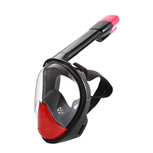 Easy Breath Full Face Schnorchelmaske- LUOOV 180 Seaview Tauchmaske mit längerem Schnorchelrohr mit GoPro Mount, Anti Fog und Anti Leck für Erwachsene und Kinder (Schwarz Rot, L-XL)