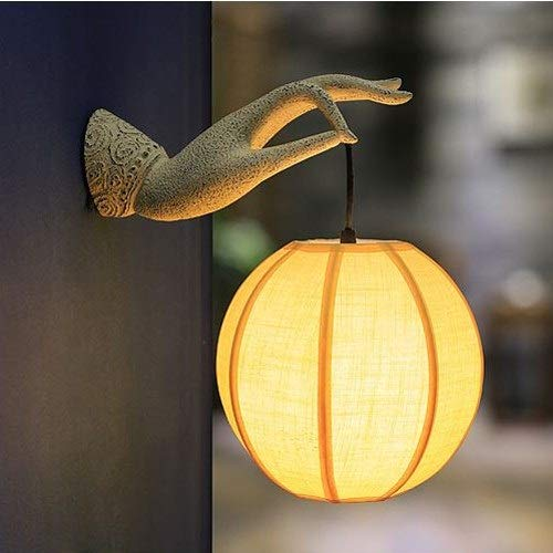Moddeny Mano de Buda japonesa pared de la resina de la lámpara clásica dormitorio tradicional de noche...