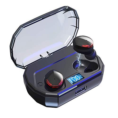 Bravoly Écouteurs Bluetooth V5.0, TWS Oreillette Bluetooth sans Fil Contrôle Tactile IPX5 CVC6.0 Réduction du Bruit, 100 Heures de Jeu, Intra Auriculaire Casque Sport pour Conduite et Gym, Noir