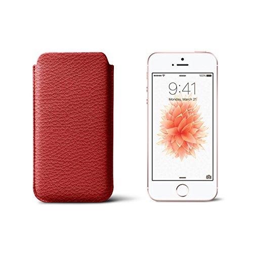 Lucrin - Lederetui für iPhone 5/5S/SE - Schwarz - Leder genarbt Rot