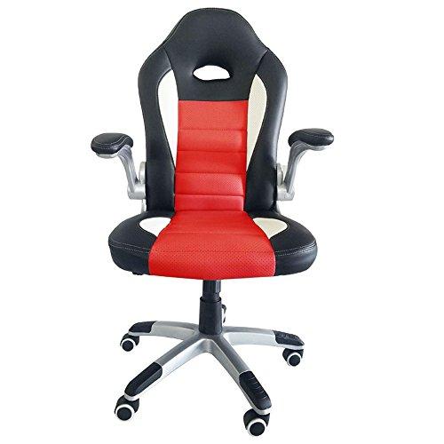 Astro-stuhl (SAILUN® Sportsitz Racing Stuhl Bürostuhl , PU Kunstleder Bürodrehstuhl, Drehstuhl mit Armlehnen, Wippfunktion und Höhenverstellbar, Ergonomisch (Schwarz-Rot, Sportsitz))