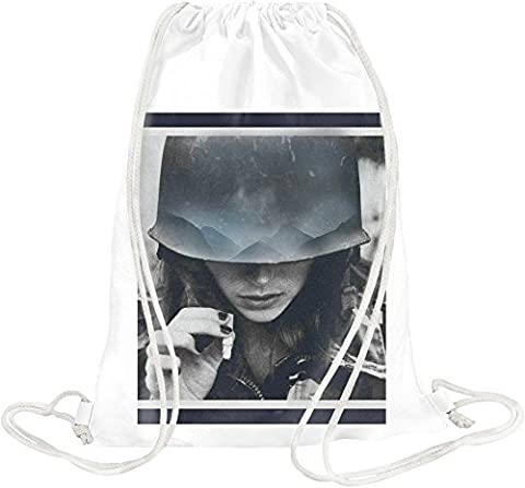 Girl With Cigarette Art Drawstring bag