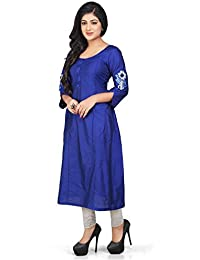 b336b67411d3 Utsav Fashion Plain Cotton Silk Long Kurta in Royal Blue