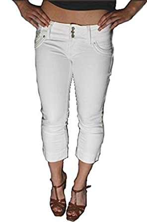 Womens 3/4 White Denim Slim Skinny Cropped Diamante Studded Jewel ...