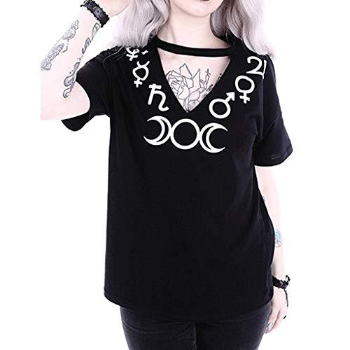UFODB Damen Gothic Shirt Oversize S-5XL, Frauen Steampunk Stil V Neck Sexy Moon Print Top Short Sleeve Punk T-Shirt Oberteile Kurzarm Tops Bluse (Button Moon Kostüm)