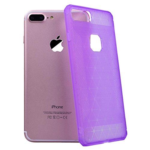 SMART LEGEND iPhone 7 Plus Weiche Silikon Hülle Rutschfest Kohlefaser Bumper Schutzhülle Transparent Hülle mit Grau Muster Handyhülle Crystal Kirstall Clear Etui Ultra Slim Design Glatt Durchsichtig W Lila