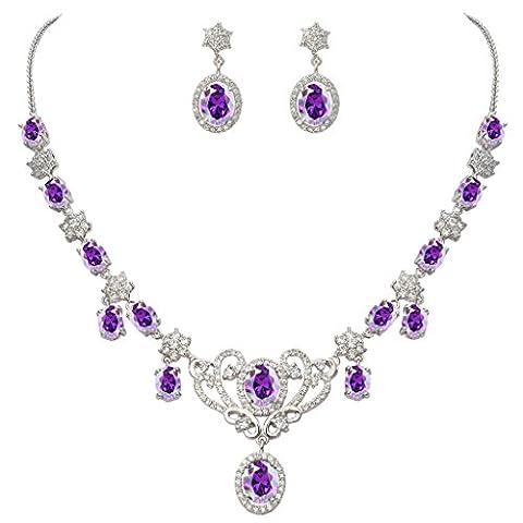 EVER FAITH® Damen CZ February Birthstone Schleife Halskette Ohrringe Set lila Amethyst fabre Silber-Ton