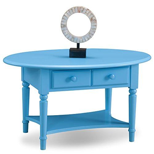LEICK 20044-bk Coastal Oval Couchtisch mit Ablage Casual Blau (Regatta Blue) - Couchtisch Blauer