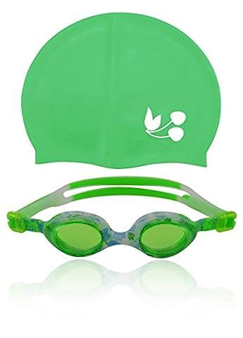 »Flippo« Kinder-Schwimmbrille + Badekappe/ 100% UV-Schutz + Antibeschlag / High-Quality-Silikon + stabile Box / Ideal für Wettkampf, Training, Wassersport und Freizeitspaß. Erhältlich in stabiler DesignerBox / AF-1700S, grün
