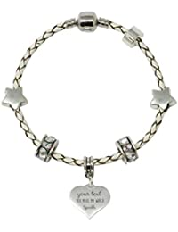 Personalised 21cm Leather Charm Bracelet With Truly Charming Sparkle Collection Gift Box