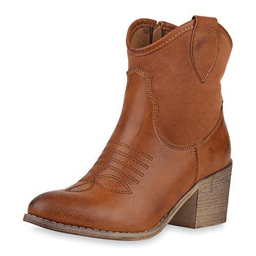 SCARPE VITA Damen Cowboy Boots Western Stiefeletten Blockabsatz Schuhe Leder-Optik Cowboystiefel Stickereien 180192 Hellbraun Stickereien 36