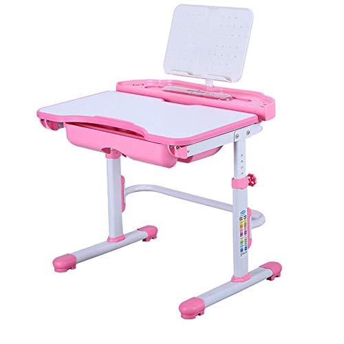 Xian Kinderschreibtisch höhenverstellbar mit Schublade, Stuhl, LED Lampe, Pink