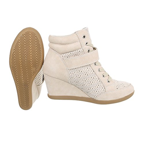 Scarpe 876 Design beige da donna Sneaker Sneakers zeppa high Ital Y qrqzx60