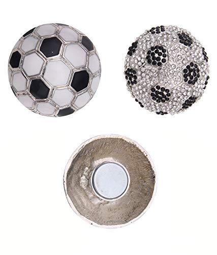 Leslii Magnet-Pin Wende-Anstecker Fußball Damen Kinder Strass-Brosche Modeschmuck Ø 3,1cm in Schwarz Weiß