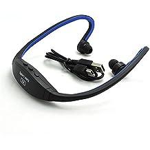 VANKER Sin hilos del auricular del auricular del deporte reproductor de música MP3, Aerobismo, Correr FM Radio Azul