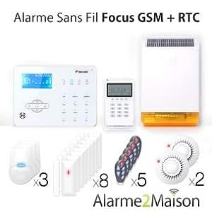 Focus - Alarme Maison sans fil Focus GSM + RTC - 8 Pièces et +