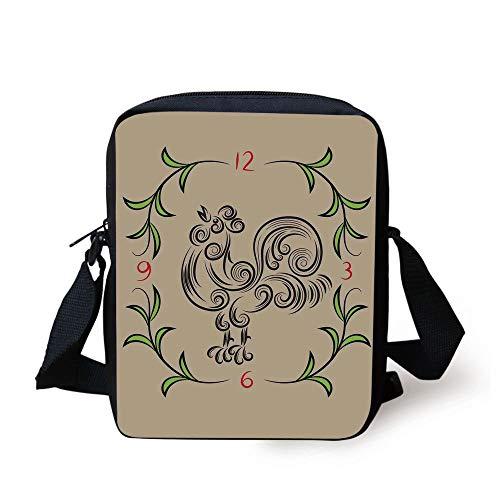 r and Floral Art Decorative Clock Time Swirls Leaves Farm Animal Theme Decoration,Grey Green Print Kids Crossbody Messenger Bag Purse ()