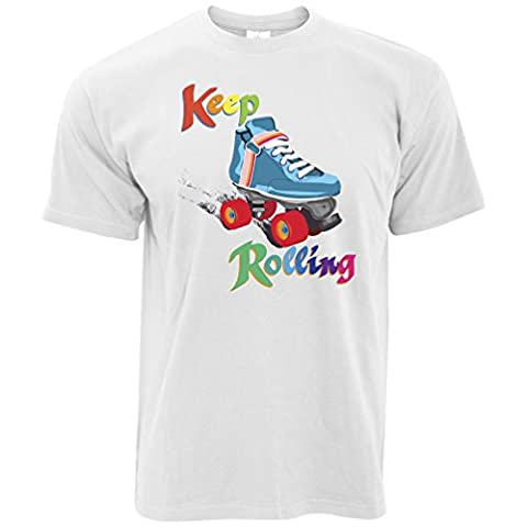 Keep On Rolling Derby Girls Roller Skate Jammer Blocker Pivot Skating Vintage Rainbow Retro Mens T-Shirt Cool Funny Gift Present For