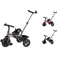 Clamaro 'Buttler Basic' 2in1 Kinderwagen Dreirad ab 1 Jahr (in 3 Farben) mit lenkbarer Schubstange, mit flüsterleisen Gummireifen, Klappbaren Fußrasten, Vor- und Rücklauf