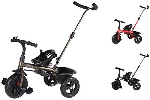 Clamaro 'Buttler Basic' 2in1 Kinderwagen Dreirad ab 1 Jahr mit lenkbarer Schubstange, mit flüsterleisen Gummireifen, Vor- und Rücklauf, Kinderdreirad für Jungen und Mädchen - Bronze