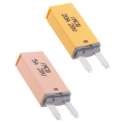 Mini Circuit Breaker (Sharplace Auto ATM Mini Sicherungen Flachsicherung Manuell Reset Circuit Breaker Fuse Schutzschalter - 2 Stück 5A + 20A)