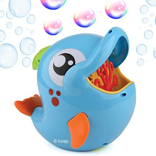 Gadgy Macchina Bolle di Sapone Delfino All'aperto | Sparabolle Bubble Machine Maker | 236 ml. Soluzione Incluso | Blu Pesce