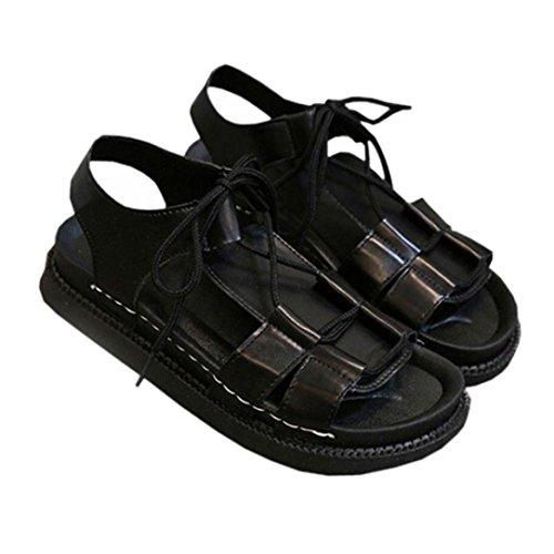 Transer® Damen Sandalen Schwarz Weiß Schnüren Römische Flach Leder+Gummi Sandalen (Bitte achten Sie auf die Größentabelle. Bitte eine Nummer größer bestellen) Schwarz
