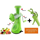 AD Passion Vegetable & Fruit Hand Juicer With Steel Handle And Vegetable Cutter & Peeler With Lock (Green) (Set Of 2)
