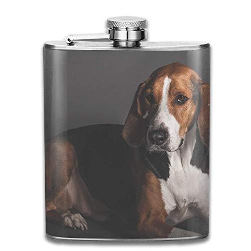 skolben Erwachsene Tricolor Englische Foxhound Mode Tragbare Edelstahl Flachmann Whisky Flasche für Männer und Frauen 7 Unze ()