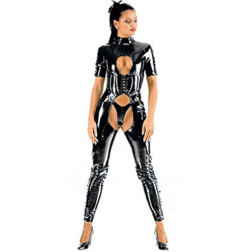 Mirlun-Schwarz-Sexy-Latex-Catsuit-Dessous-passt-Club-Wear-fr-Frauen