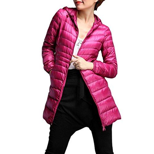 Preisvergleich Produktbild Damen Mäntel, GJKK Mode Damen Wintermantel Steppmantel Winter Übergröße Mantel Warme Dünne Daunenjacke Outwear Mantel Winterjacke lang mit Kapuze Wärmejacke (S-6XL) (Hot Pink, L)