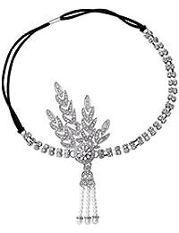 BABEYOND Cinta diadema de cristal de estilo años 20, charlestón, Gran Gatsby, con detalles en forma de hojas y borla de cadenitas de perlas