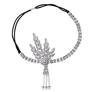 Babeyond® Art Deco 1920's Flapper Great Gatsby Inspired Leaf Medallion Pearl Headpiece Headband (Silver)