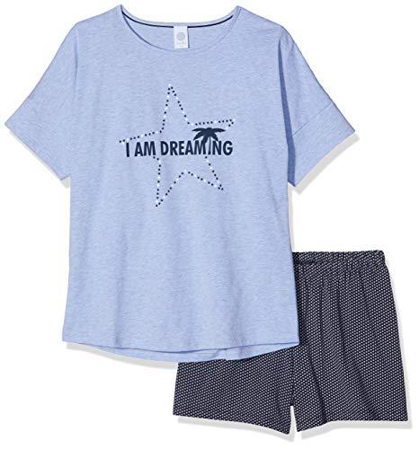 Sanetta Mädchen Zweiteiliger Schlafanzug Pyjama Short Blau (Oxford Mel 50252) 164