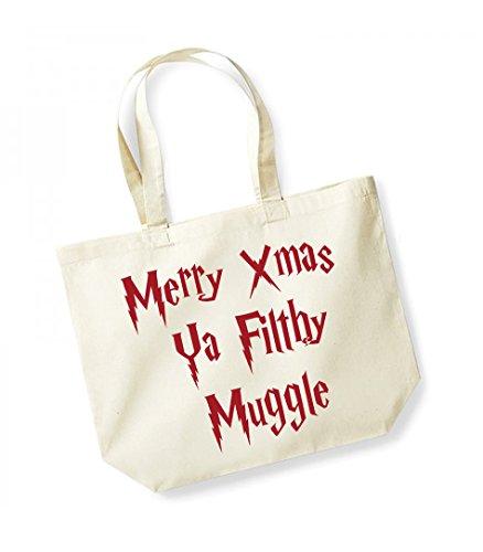 Merry Xmas Ya Filthy Muggle - Large Canvas Fun Slogan Tote Bag Natural/Red