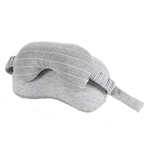 TENGGO 2-In-1 Sleeping Eye Maske Eyeshade Cover Shade U-Förmige Reisebüro Neck Unterstützung Pillow-Hellgrau