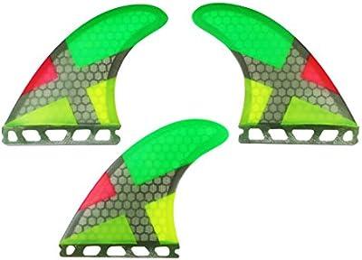 Maelstorm Fiberglass Honeycomb Surfboard Fins with Fin Keys and Screws Tri (3 fins) Fin Performance Core Glass Flex G5 Size Thruster Set for Surf boards