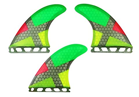 Maelstorm Fiberglass Honeycomb Surfboard Fins with Fin Keys and Screws Tri (3 fins) Fin Performance Core Glass Flex G5 Size Thruster Set for Surf